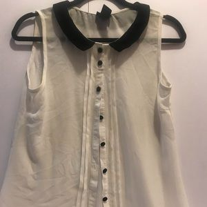 Sheer White Blouses with black collar shirt